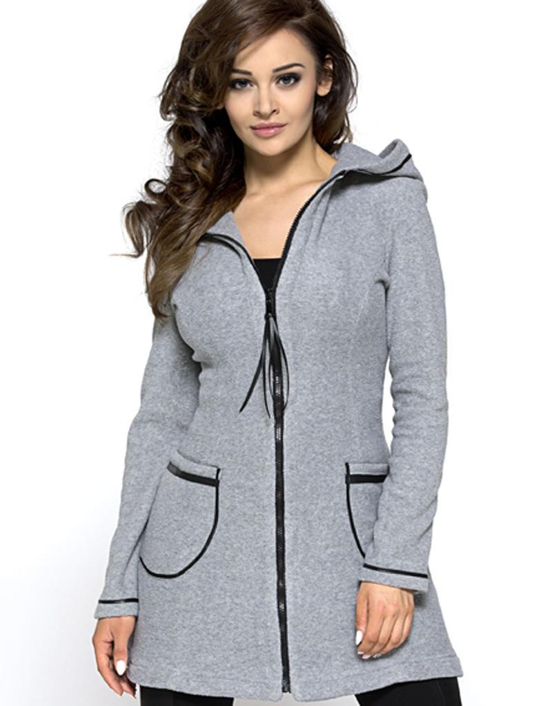 Grey A-line Sporty Dress Hoodie Coat
