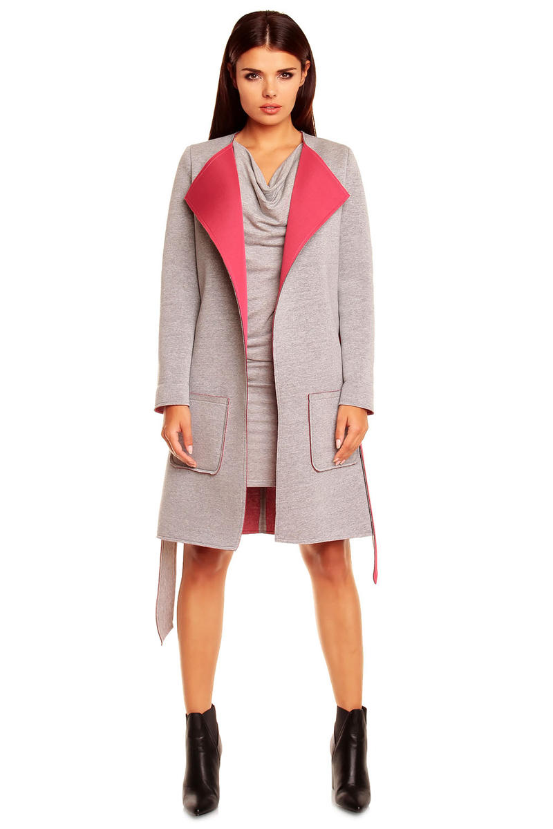 Grey and Pink Belted Coat With Wide Lapels