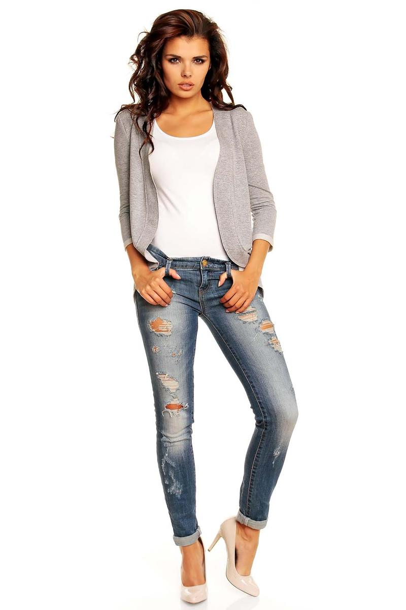 Curvy Front Open Grey Cardigan with 3/4 Sleeves