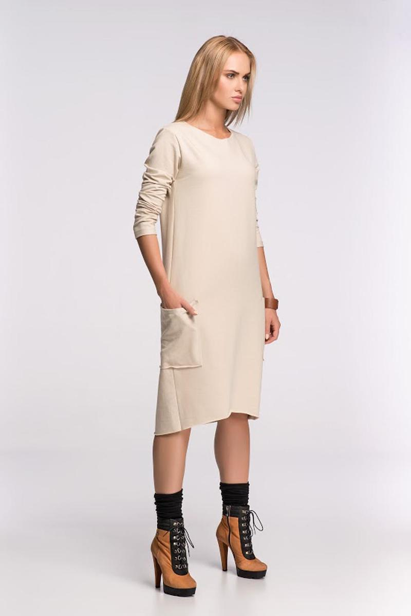 Box Shaped Beige Shift Dress