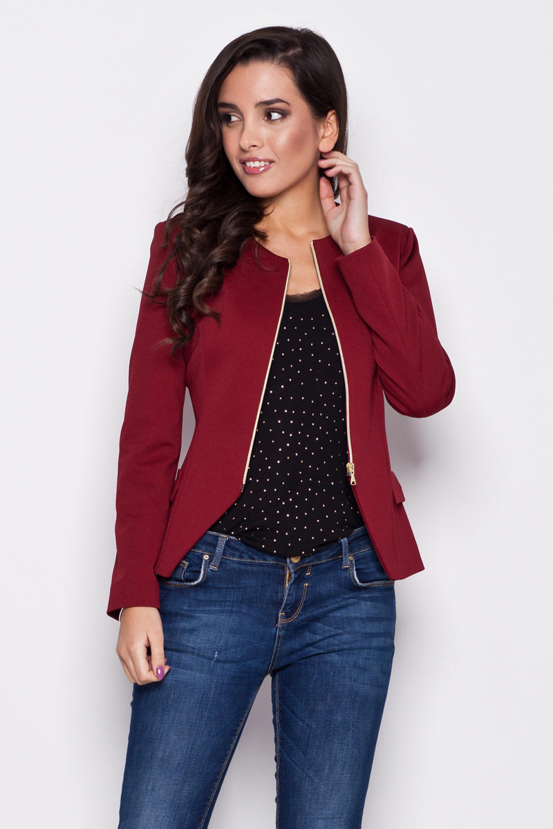 Seam Maroon Blazer with Slit Neckline and Semi Zip Fastening