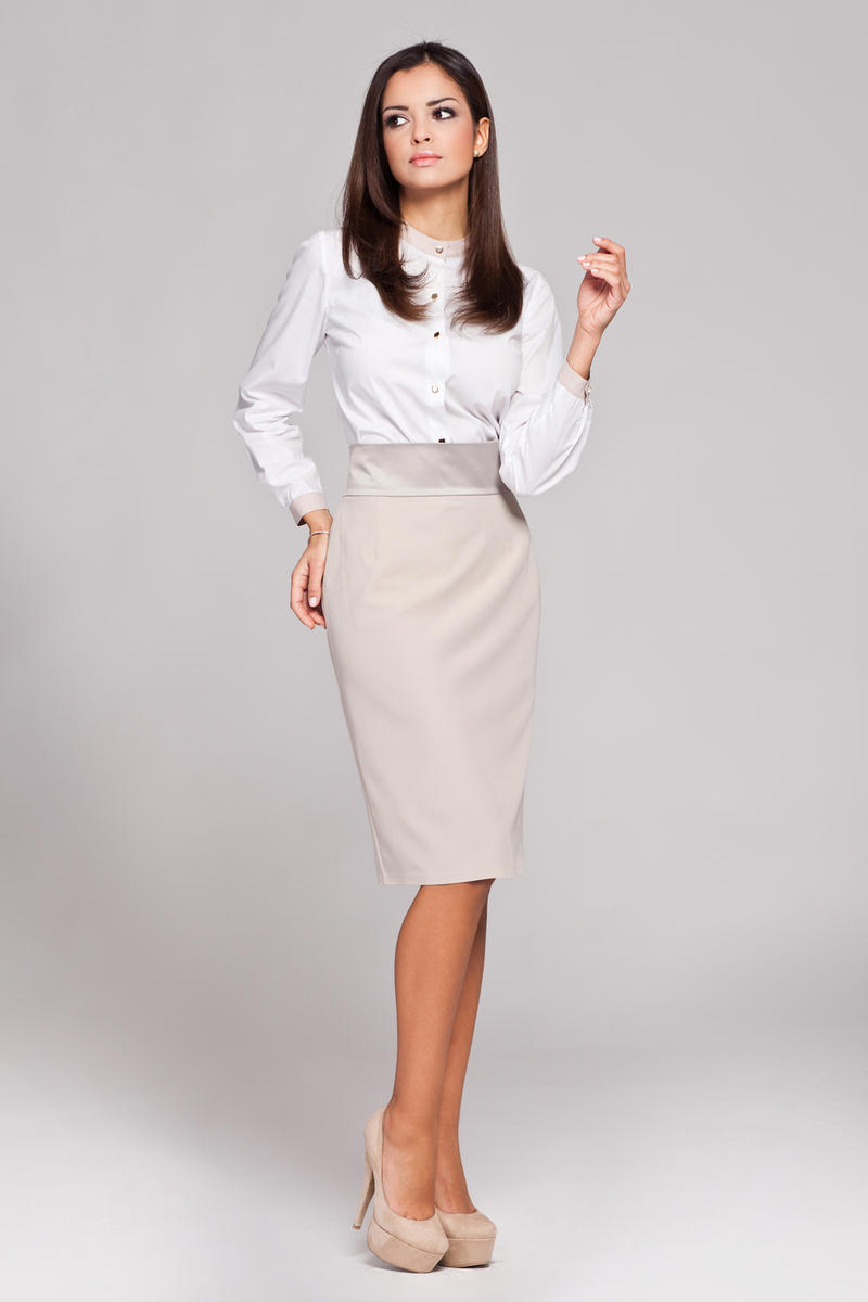 Beige Knee Length Pencil Skirt with Glossy Belt