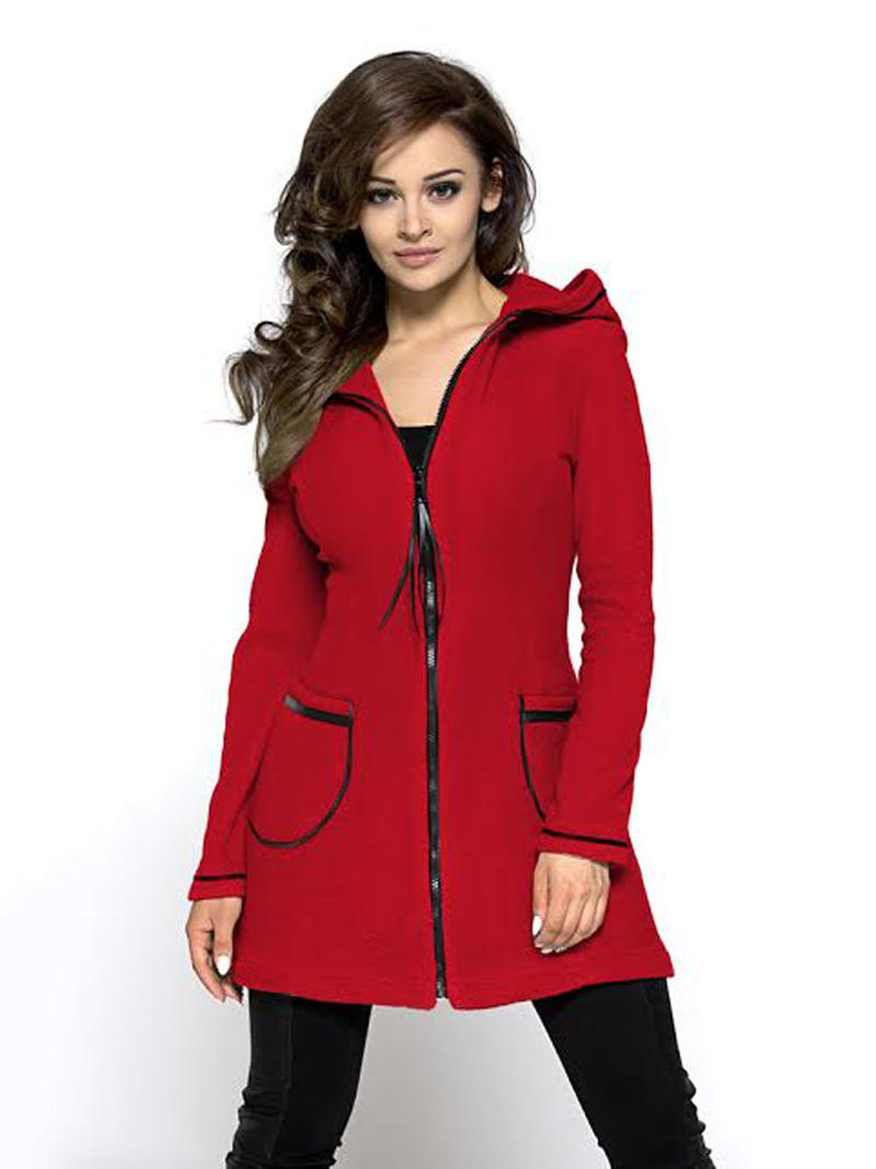 Red A-line Sporty Dress Hoodie Coat