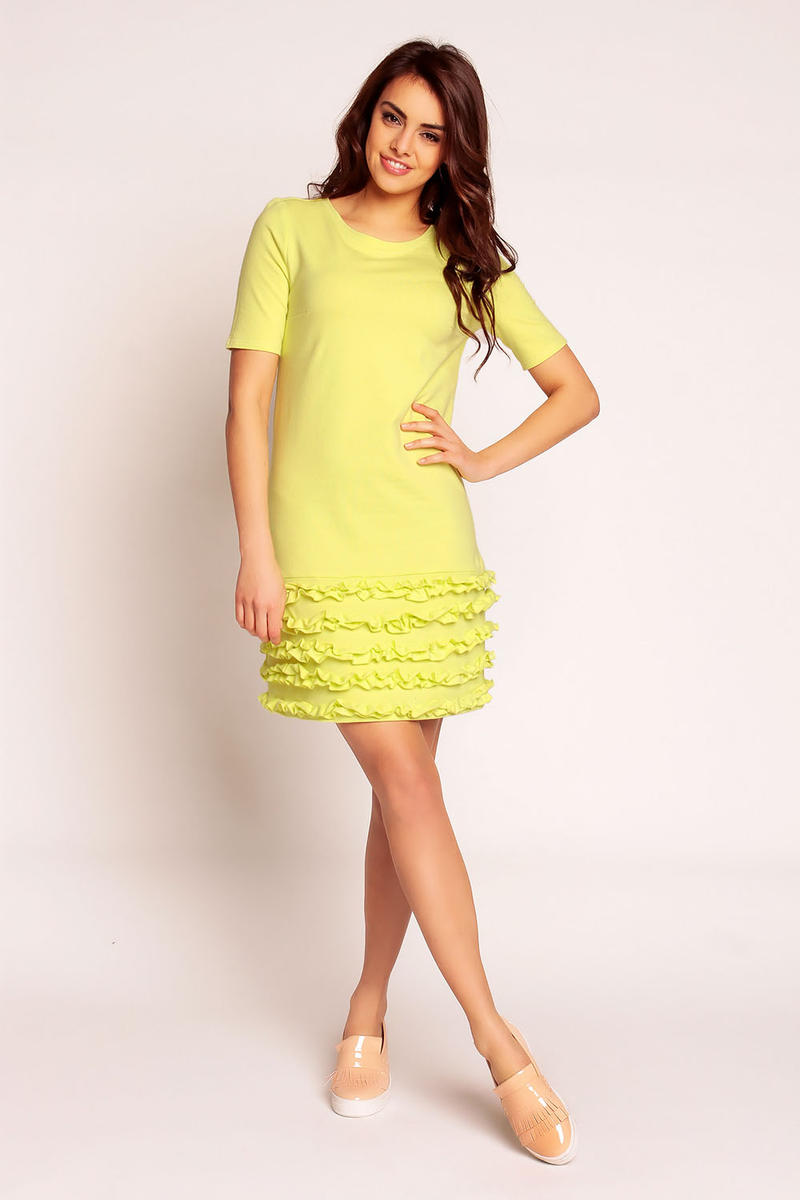 Yellow Little Frills on the Hem Short Dress