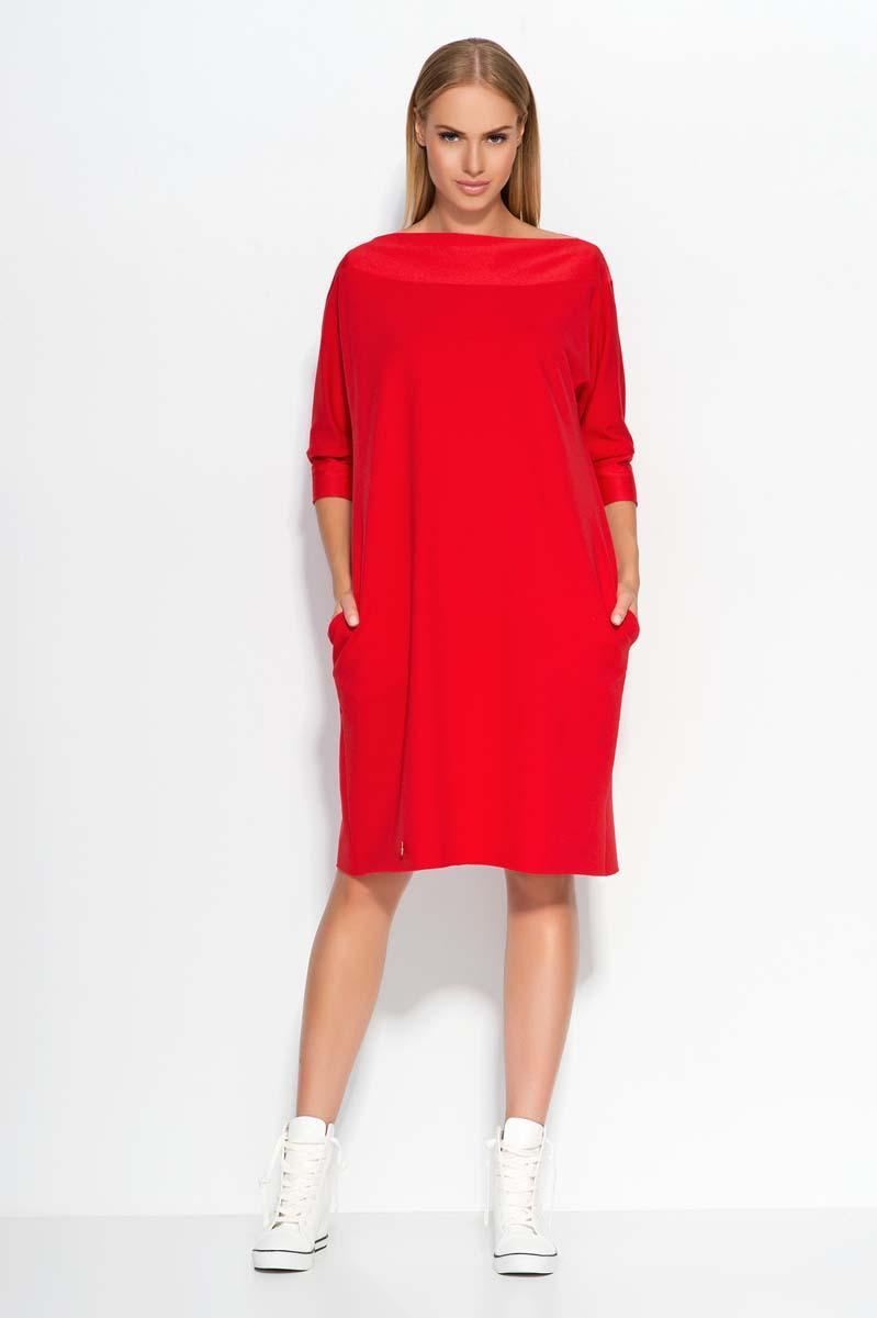 Red oversized dress with bateau neckline