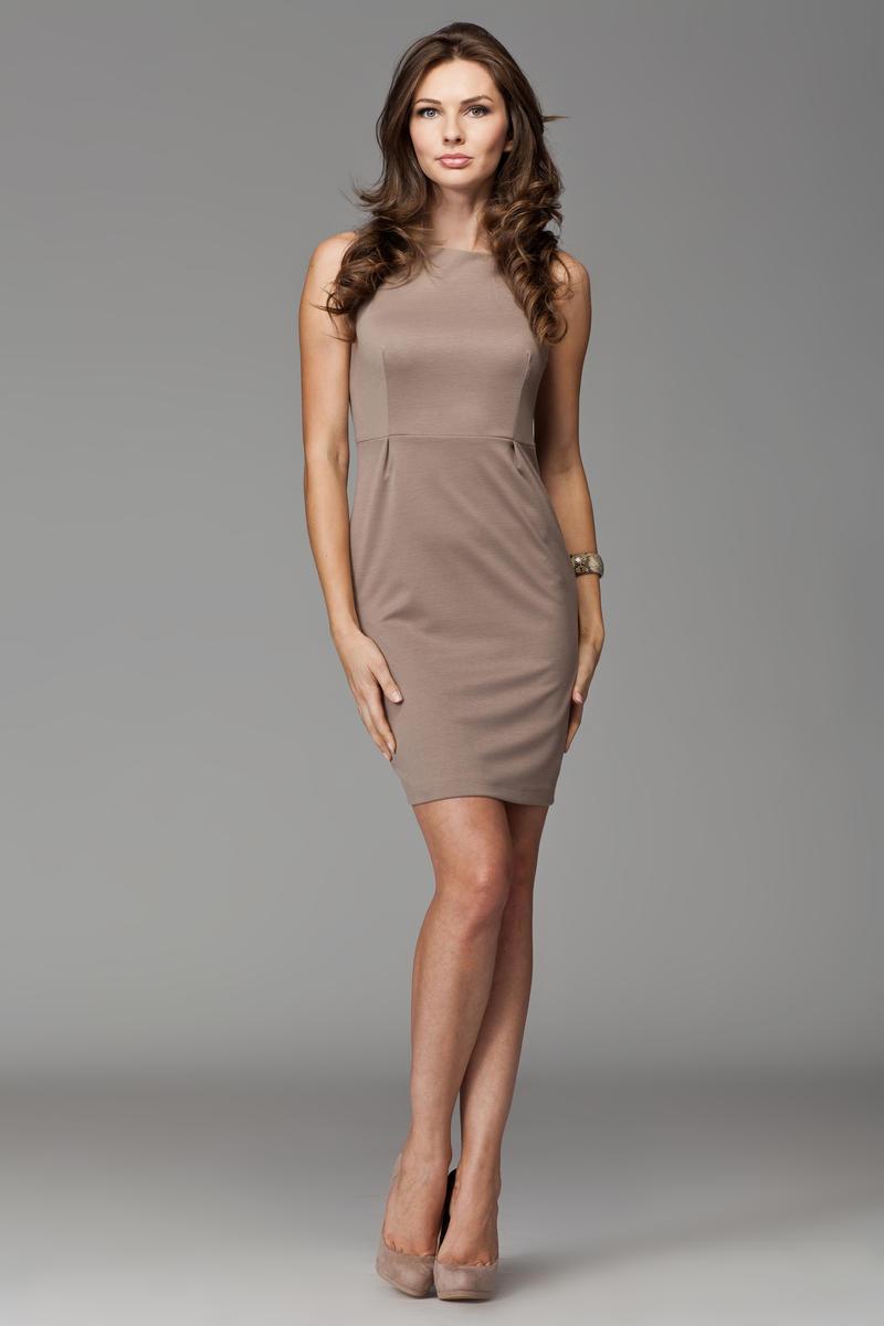 Beige Bateau Neck Seam Shift Slit Dress