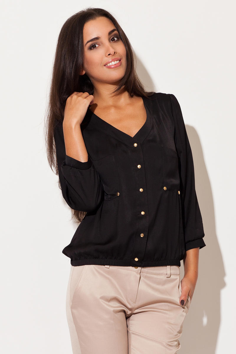 Camasa Black V Neck Stretch Waist Blouse With Button Embellishments