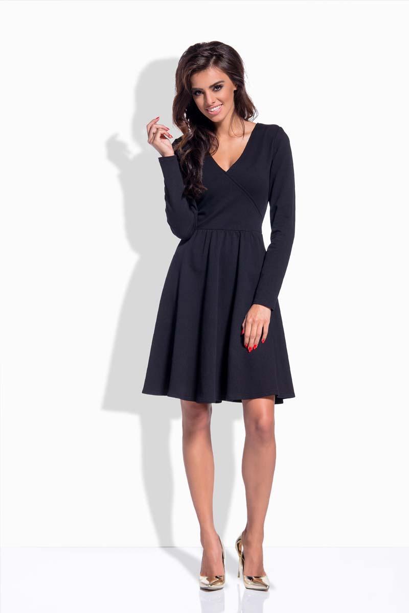Black crossover bodice dress