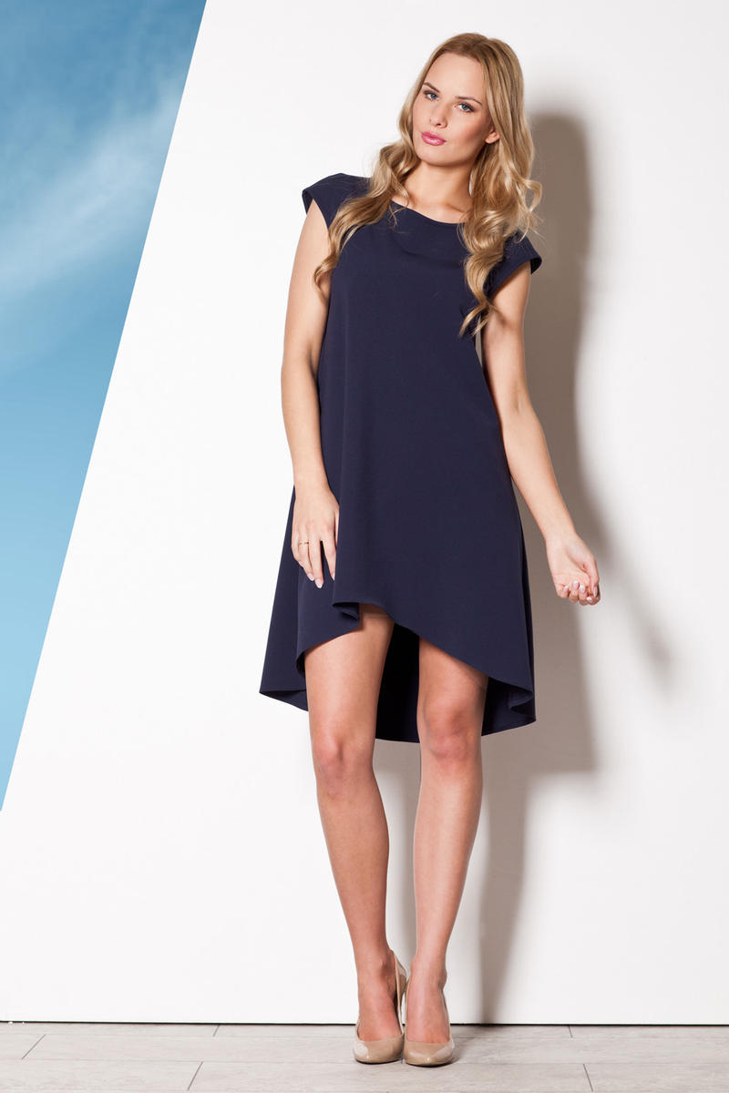 Blue Asymmetrical Shirt Dress with Cap Sleeves