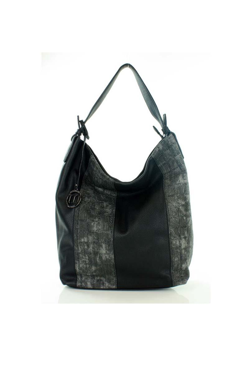 Black hobobag with shining stripes