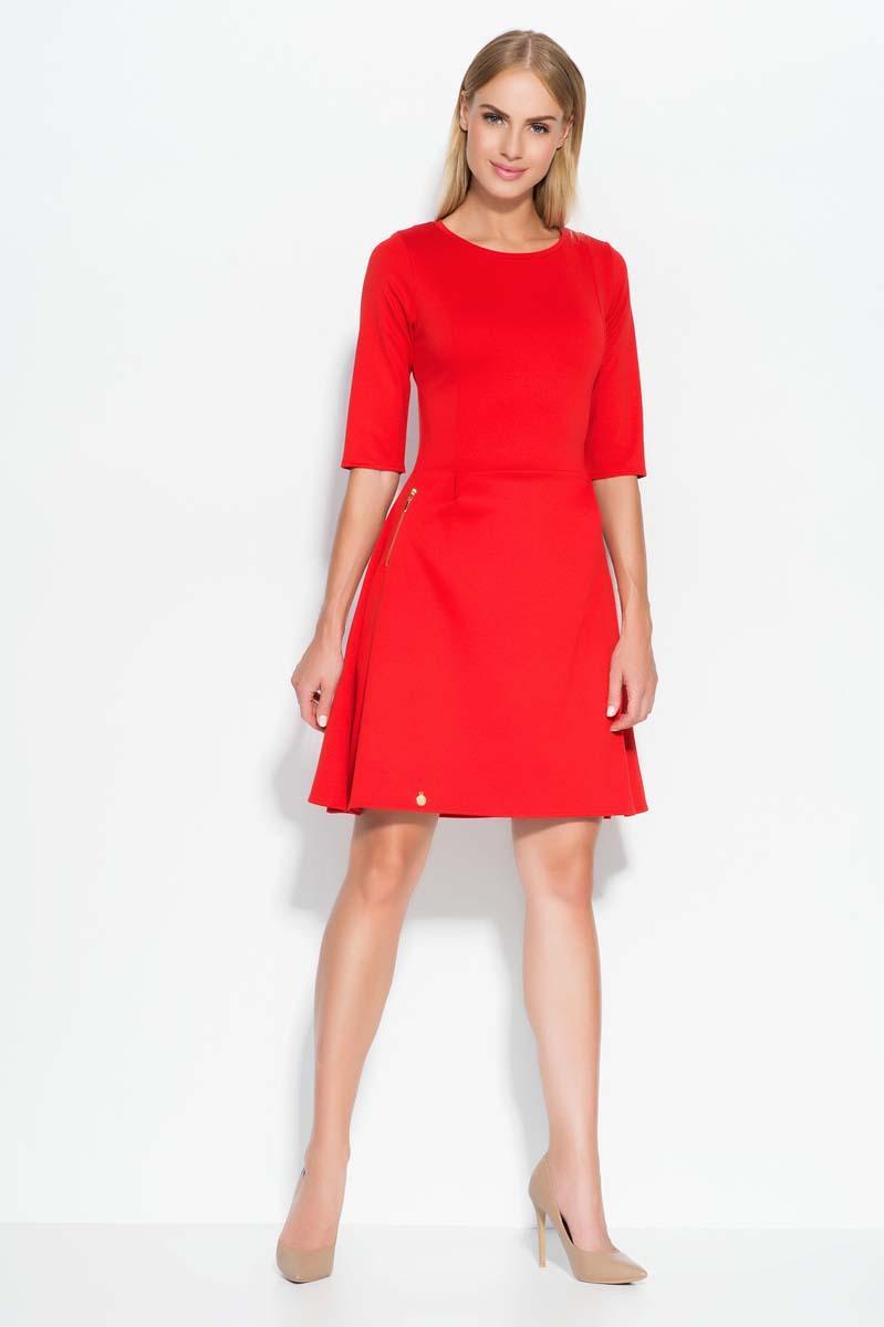 Red swirl dress with zipper embellishment