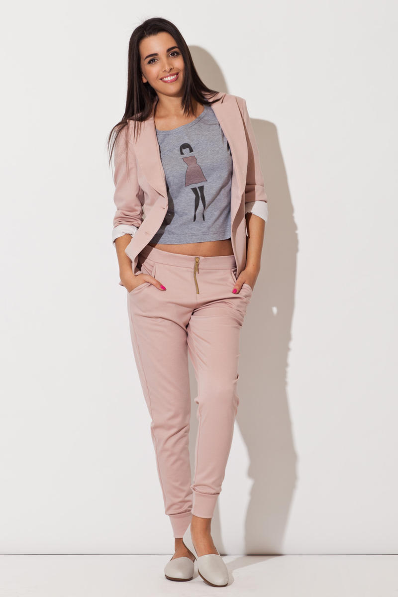 Pink Long Lapel Blazer with Matching Pants