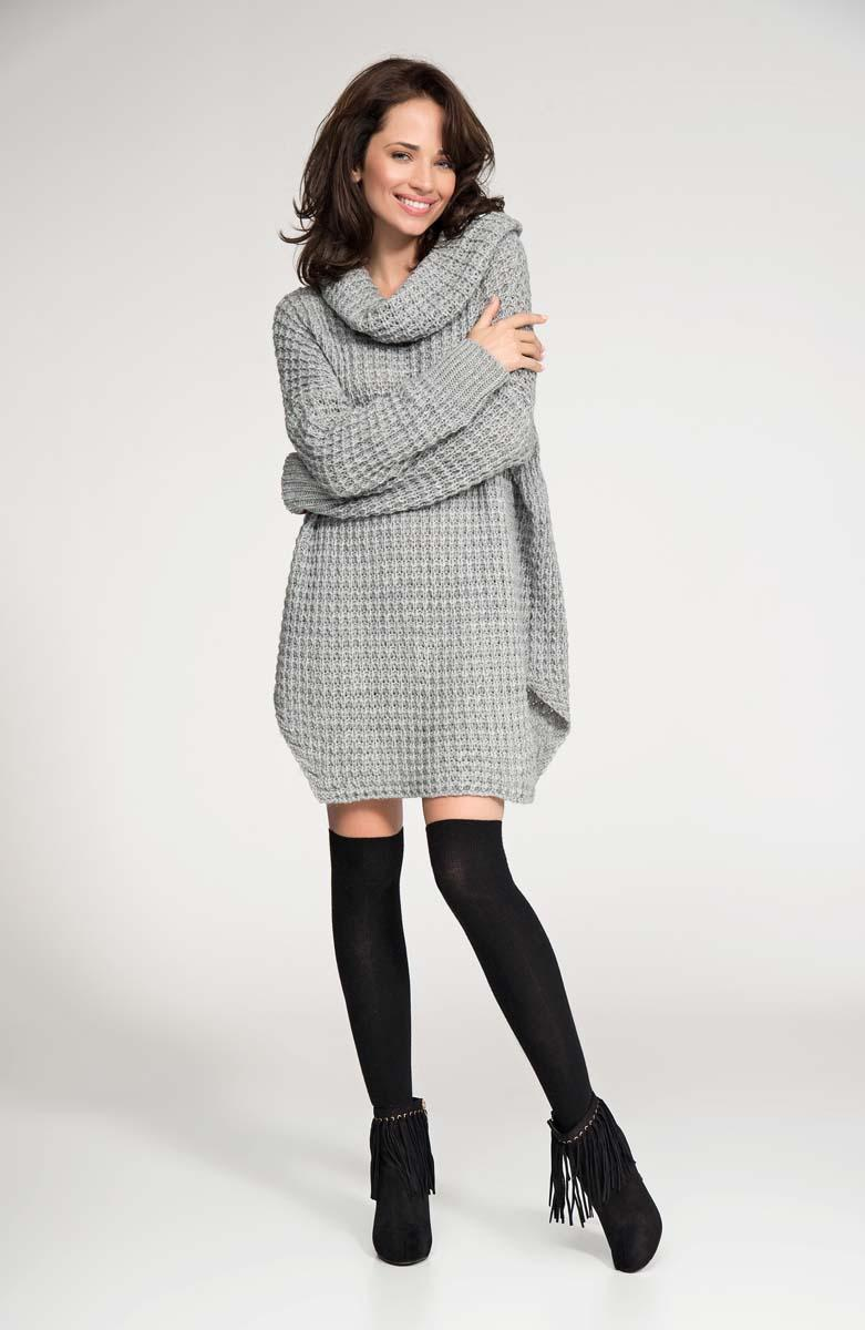 Grey long sweater with slits