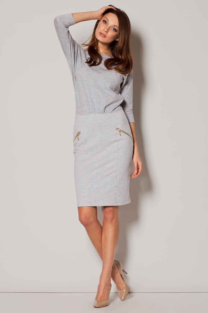 Grey Two Piece Skirt Dress with Slant Zipper Pockets