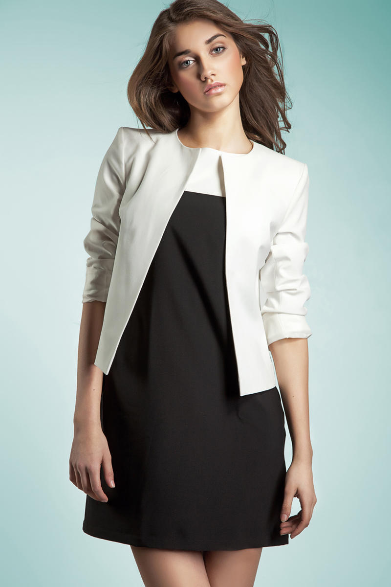 White Front Open Jacket with 3/4 Sleeves