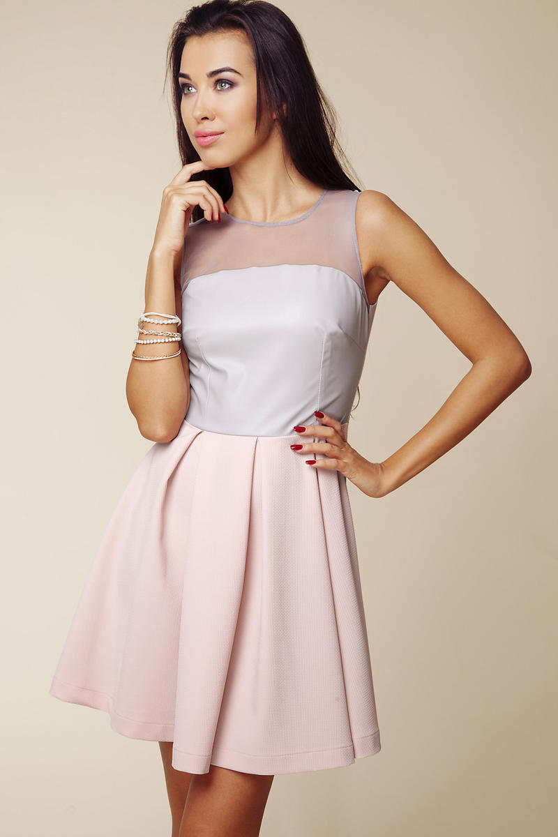 Grey - Pink Sheer Top Pleated Dress with Back Zip Fastening