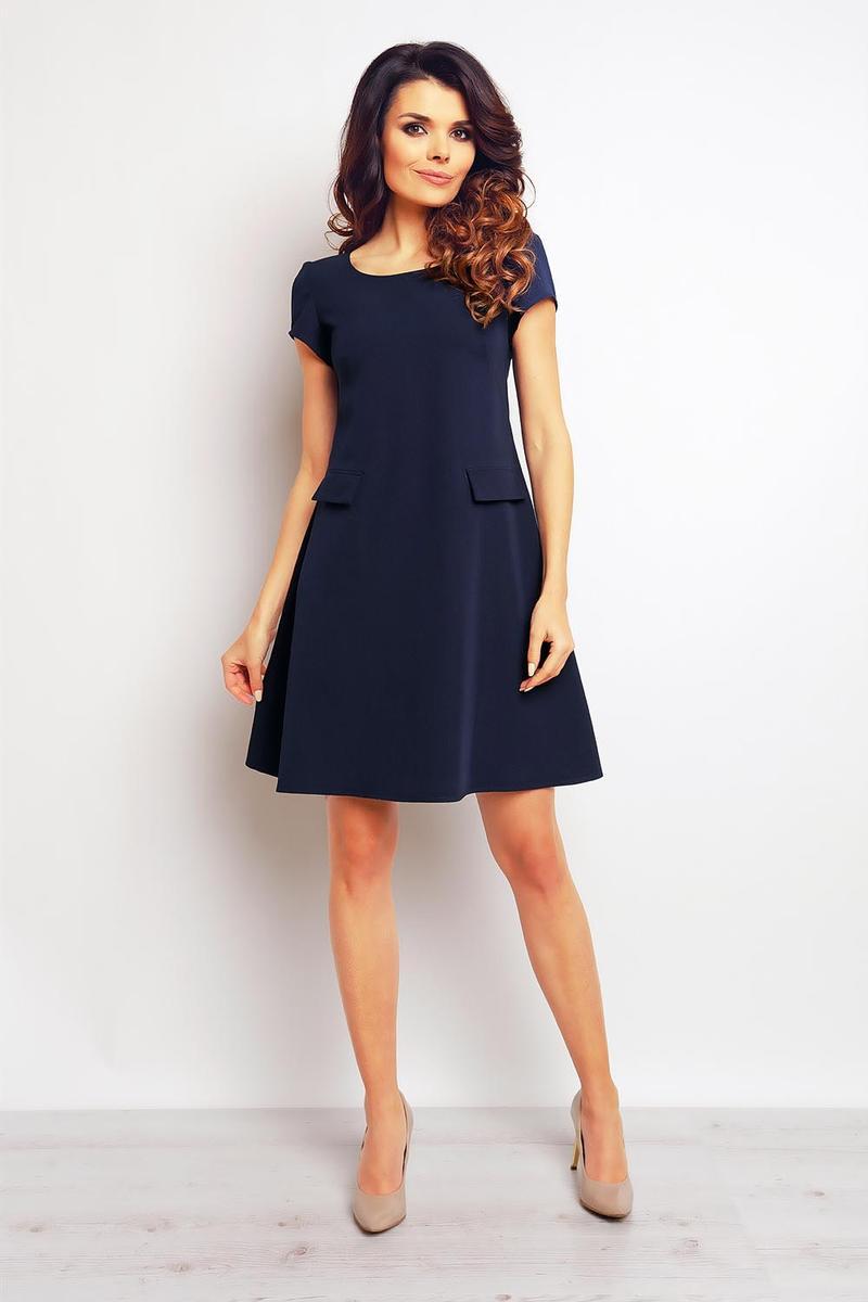 Dark blue shift dress with flap side pockets
