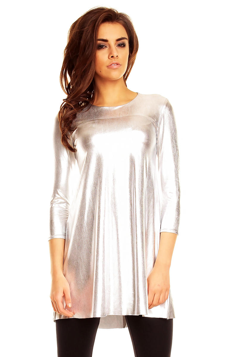 Silver Glossy Tunic Party Short Dress