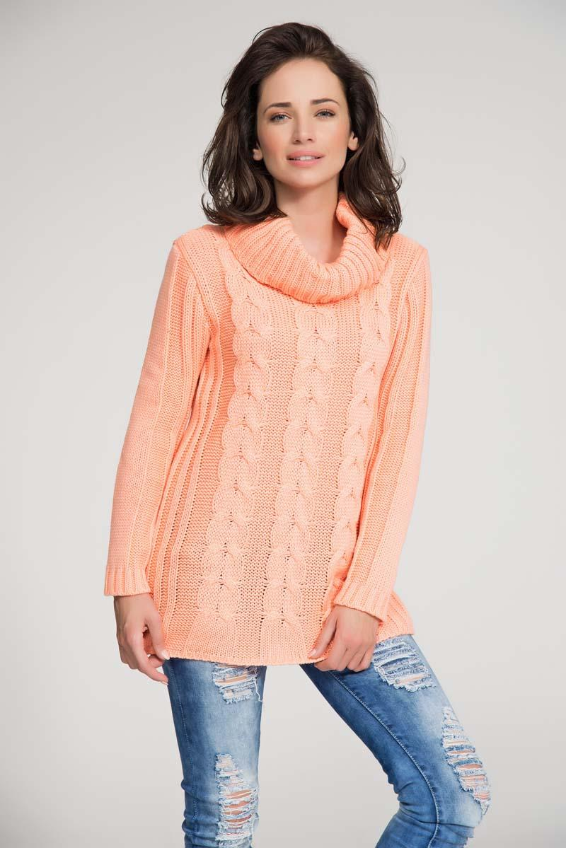 Apricot turtle neck sweater with pattern knit