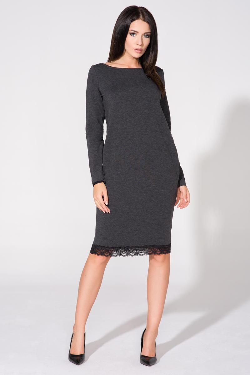 Dark grey tunic dress with contrast lace trim