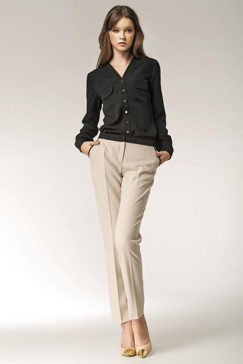 Tapered Beige Pants with Trimmed Hip Pockets