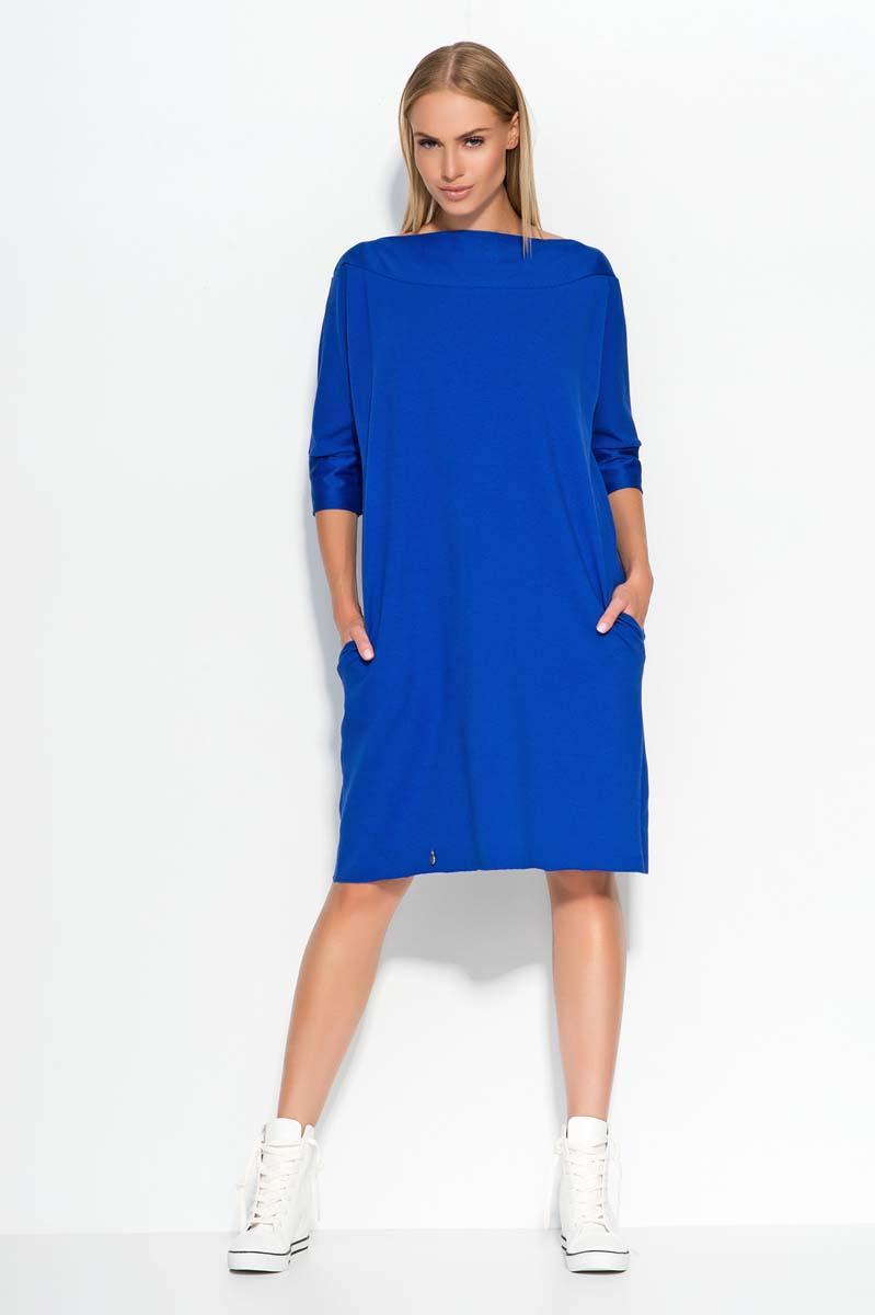 Blue oversized dress with bateau neckline