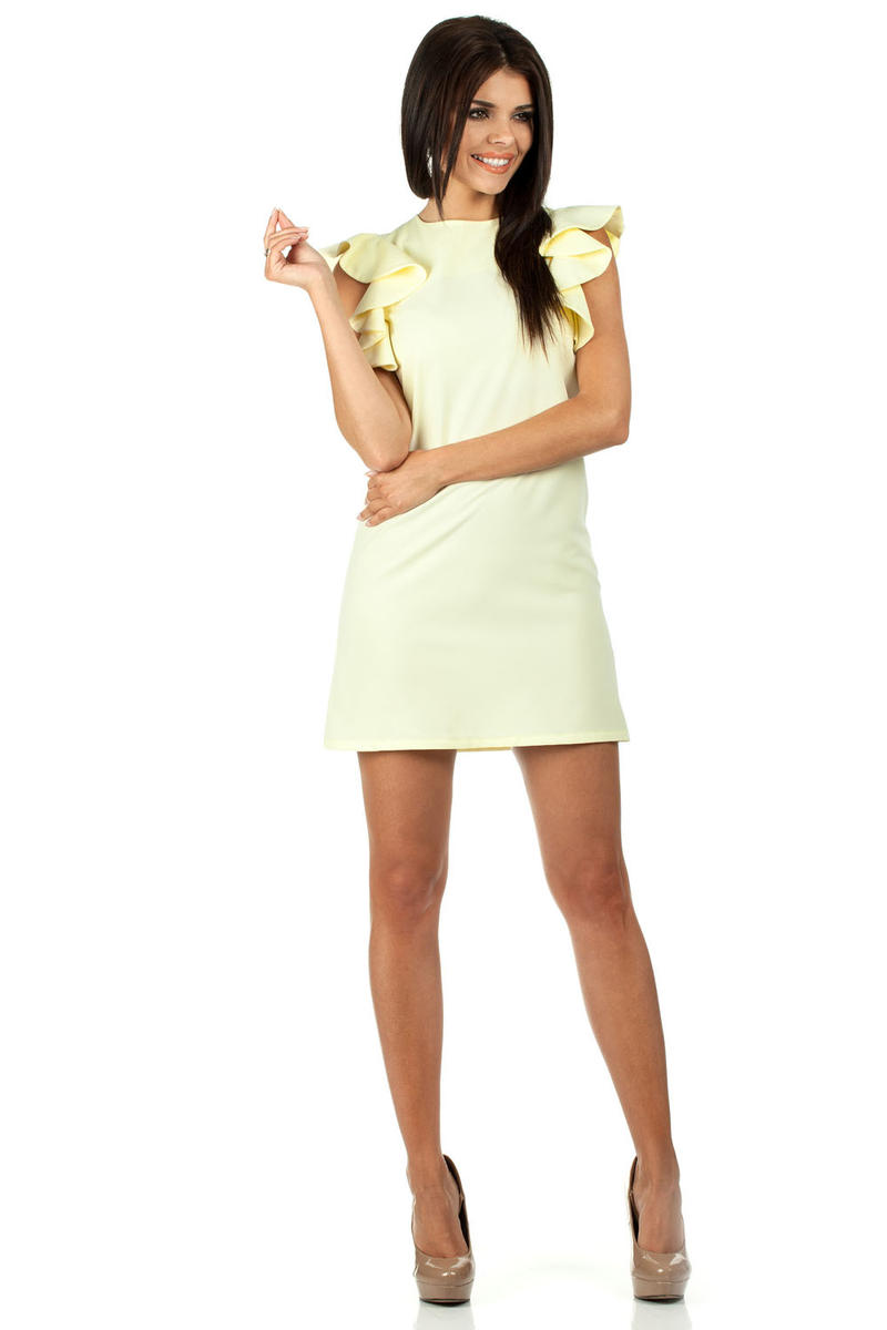 Rochie Yellow High Neck Shift Dress With Waterfall Shoulders
