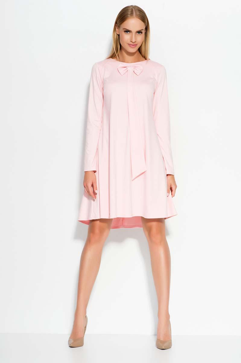 Pink A Line dress with bow neckline