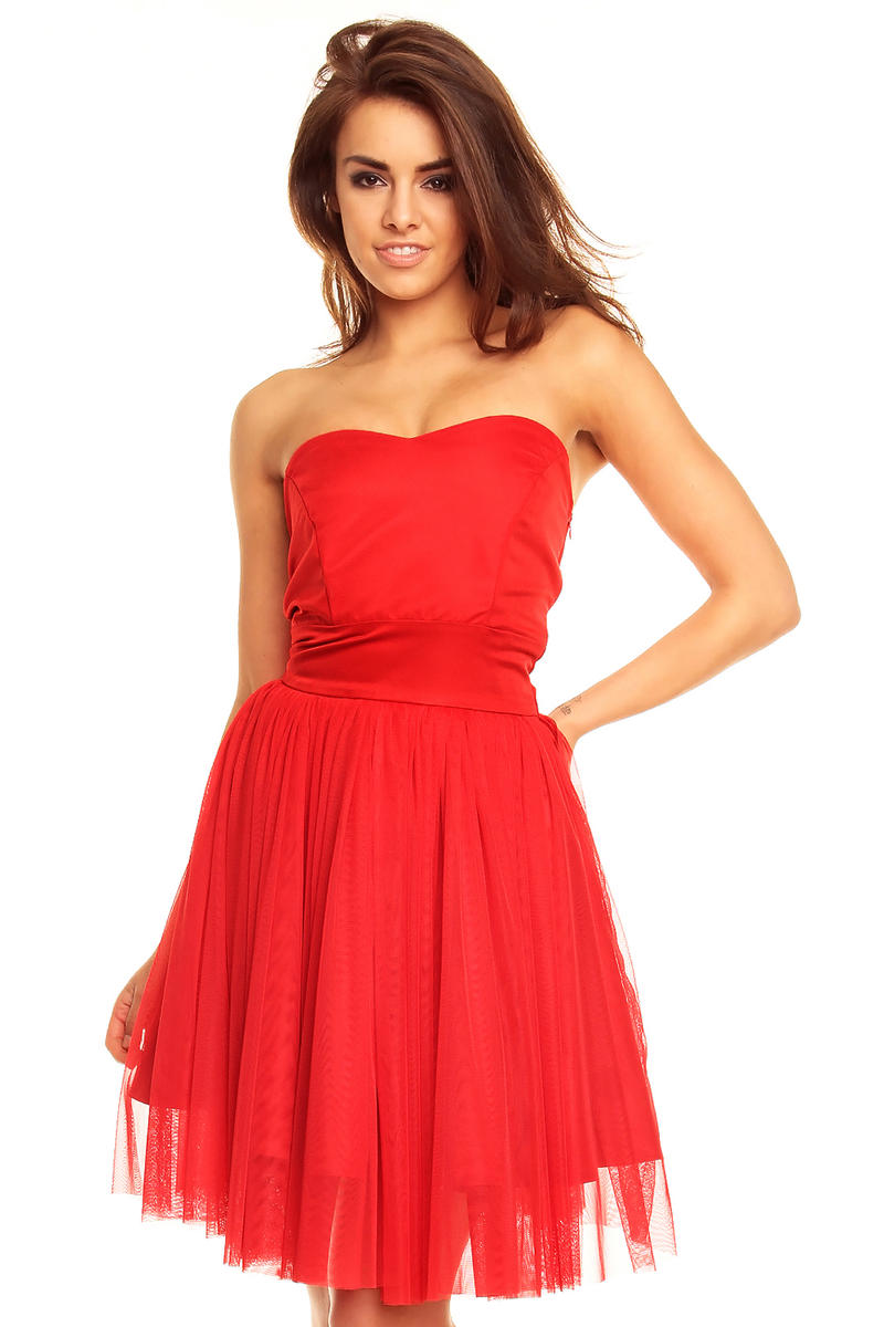 Sweet Heart Chiffon Red Dress with Satin Top