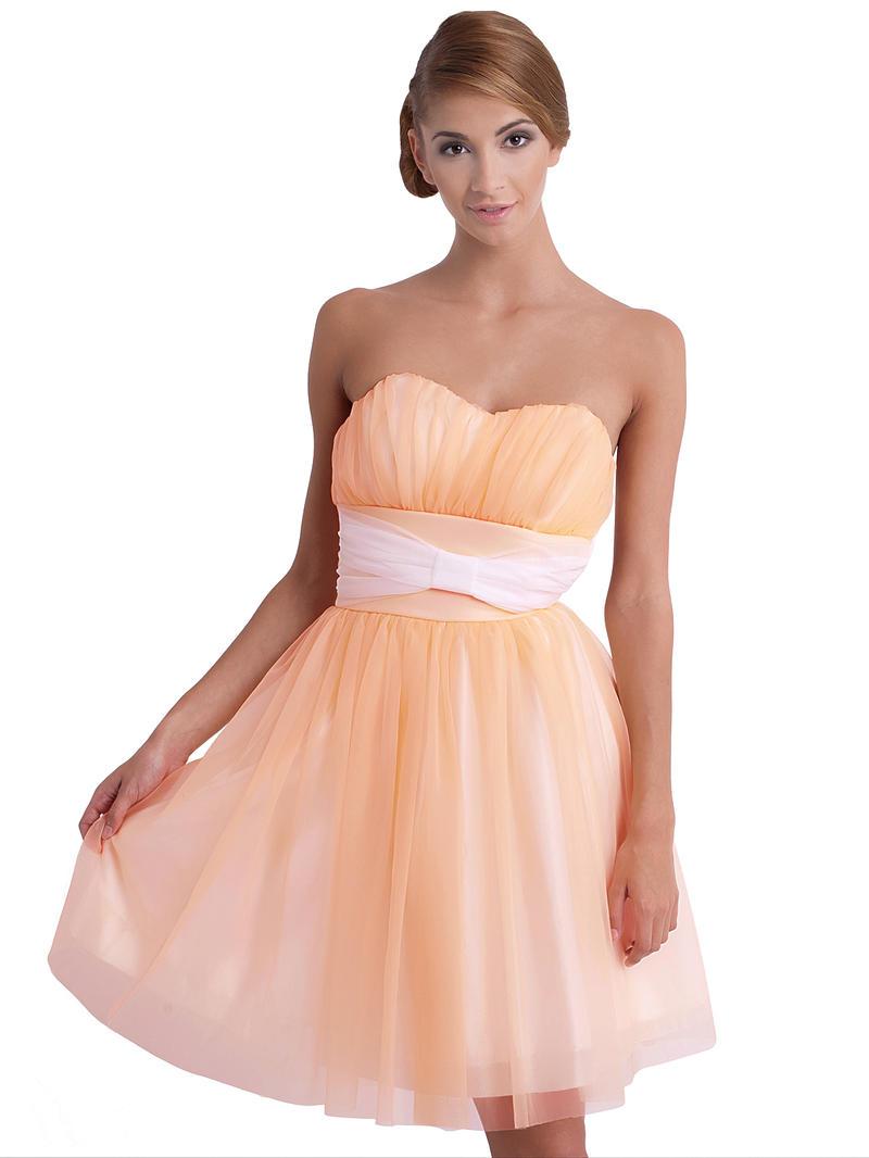 Sweet Heart Layered Salmon Chiffon Dress with Bow Belt