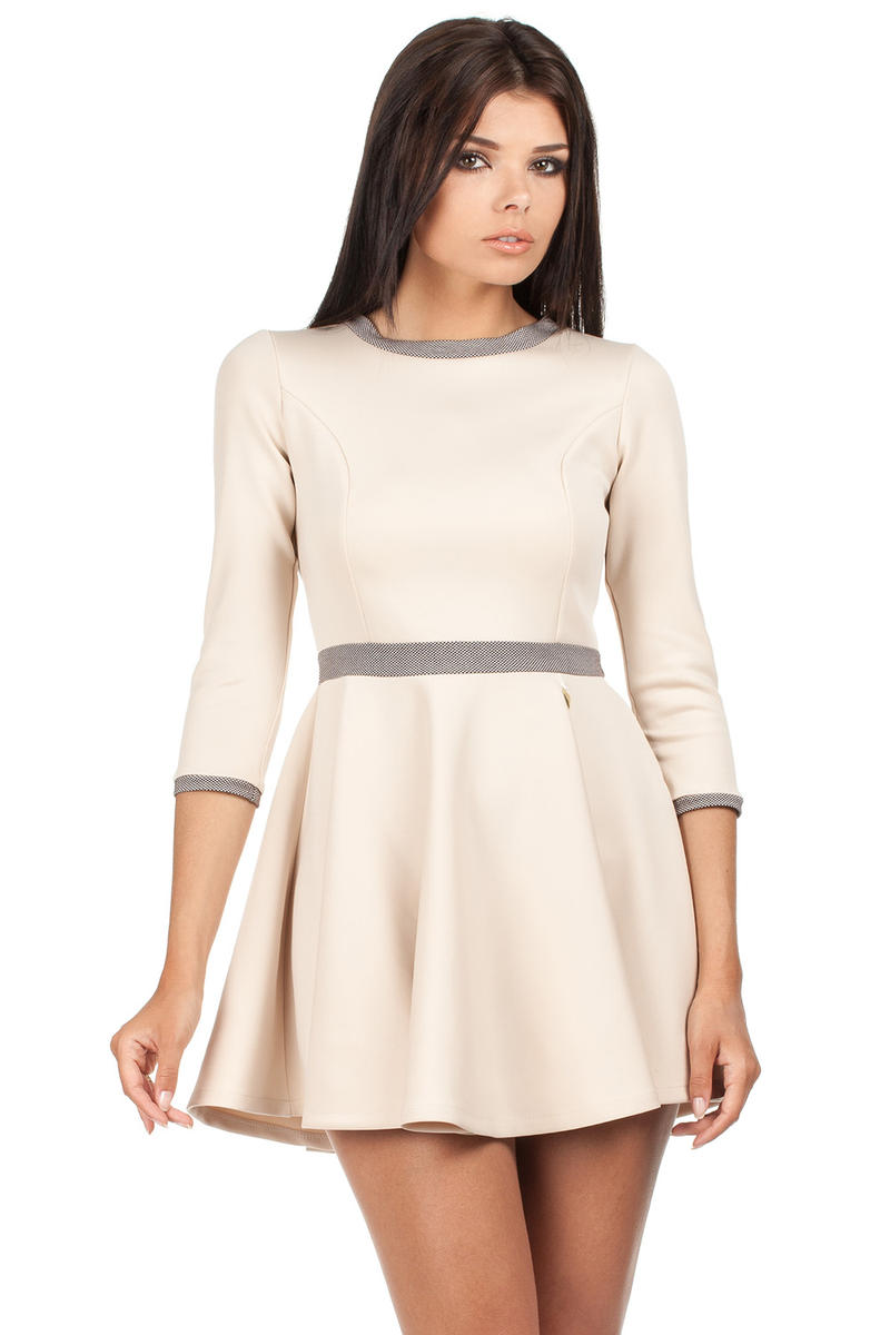 Beige Retro Style A-line Mini Dress