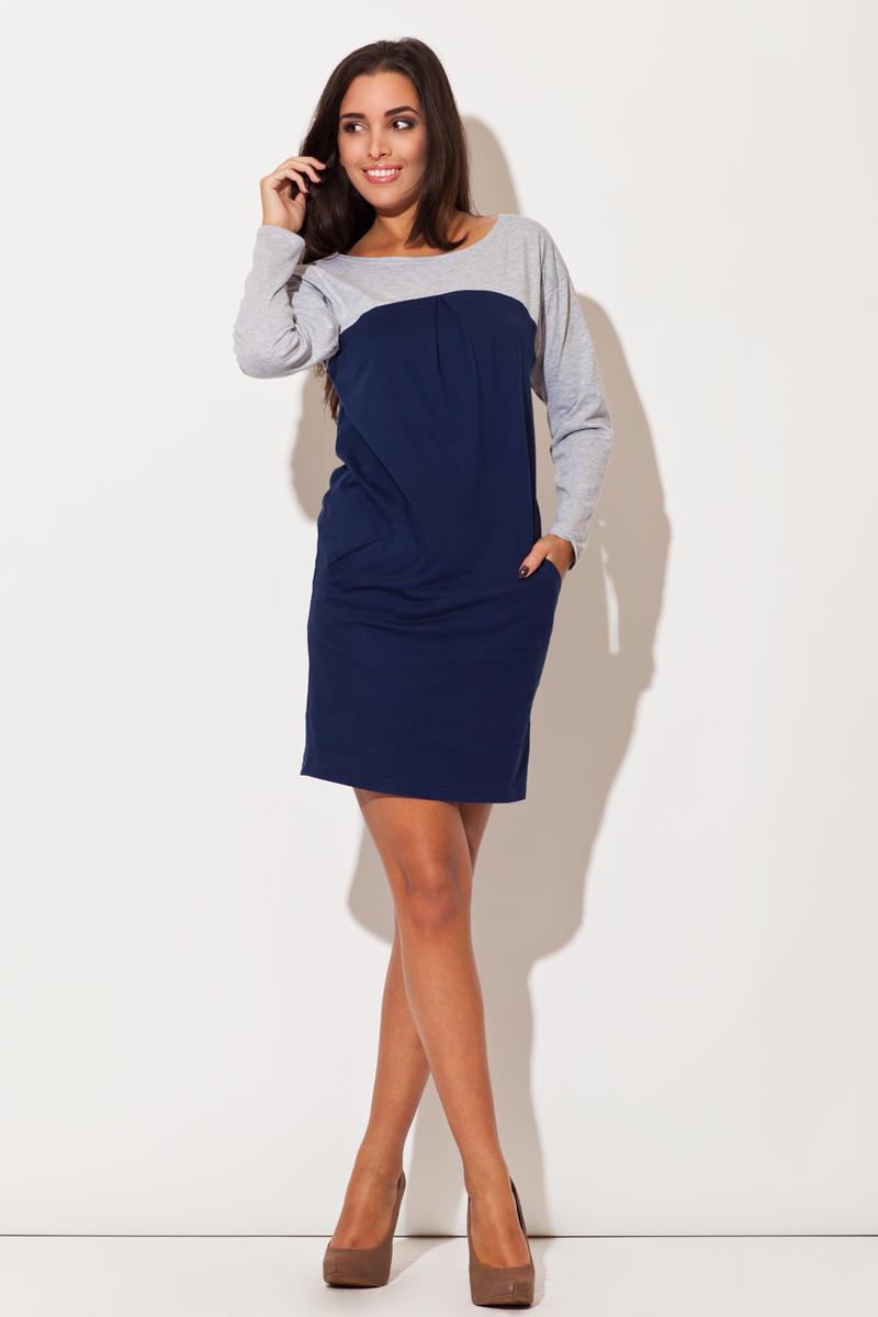 Blue Color Block Shirt Dress with Side Pockets