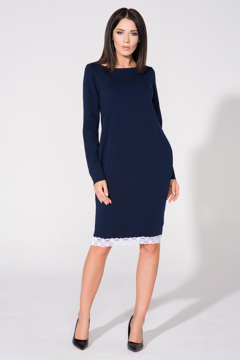 Navy blue tunic dress with contrast lace trim