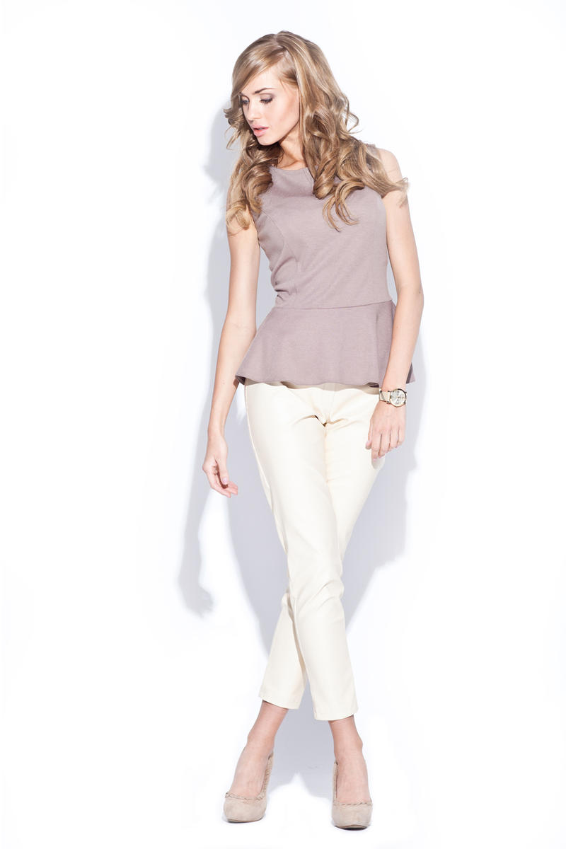 Beige Sleeveless Top with Frilled Hemline