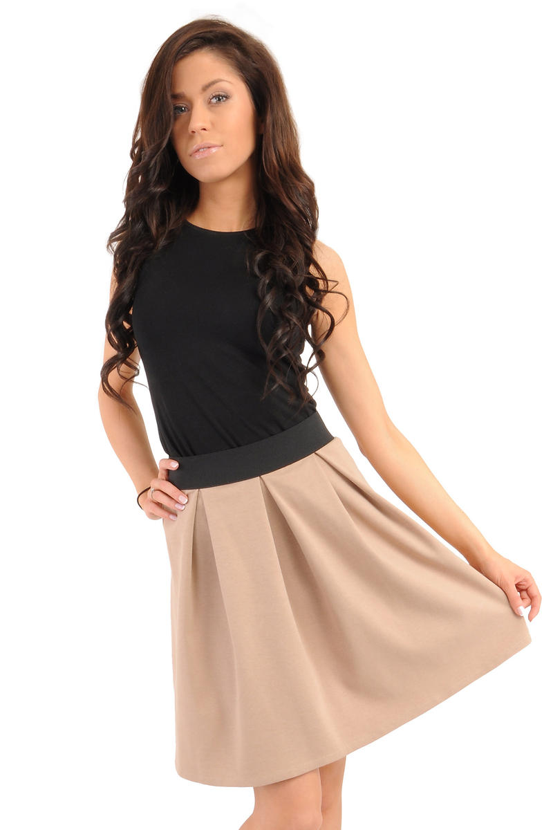 Image For Deep Pleat Short Coffee Skirt