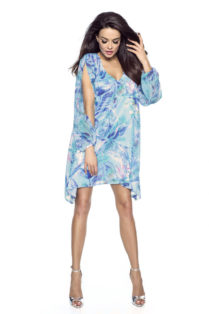 Błękitna Sukienka Asymetryczna z Rozciętymi Rękawami