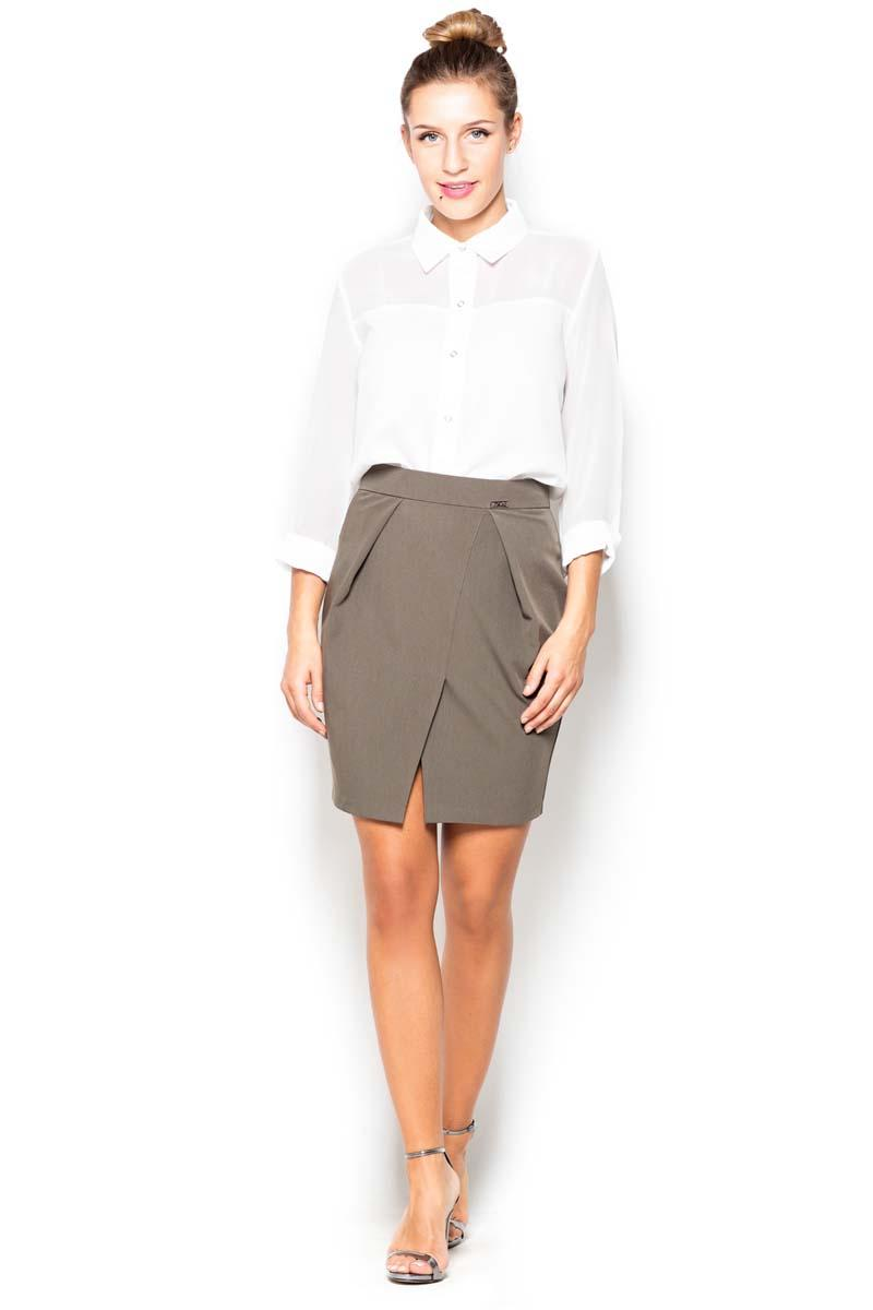 Contemporary olive skirt with slit