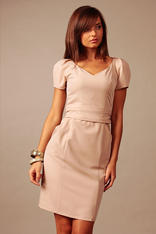 Cappuccino Back Slit Seam Dress with Back Zipper and Side Pockets