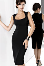 Black Midi Length Sleeveless Midi Dress with Back Slit