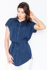 Dark blue collared casual shirt with waist belt