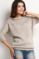Scoop Cowl Neck Beige Sweater