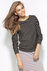 Black and Grey Striped Casual Blouse with 3/4 Sleeves