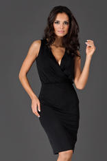 Black Wraparound V-Neckline Sleeveless Shift Dress