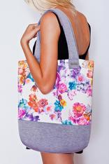 Floral Printed Tote Bag with Grey Border