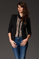 Puffed Shoulder Collarless Seam Black Blazer