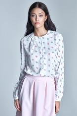 Pink floral ecru shirt with ruffled neckline