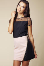 Color Block Short Leather Skirt with Asymmetrical Zipper