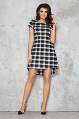Black and White Checkered Bib Seam Dress with Parabolic Hemline