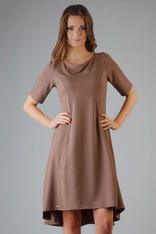 Brown High Fad Dress with Dipped Hem