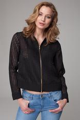 Sheer black cropped jacket with zipper fastening